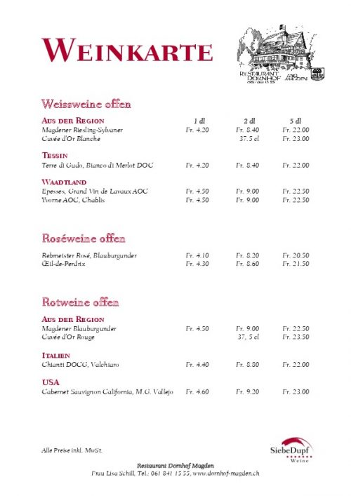 Dornhof Weinkarte